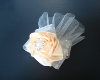 Wedding Hair Fascinator or Brooch-Buttery Cream Color-Tulle-Sparkle Organza-Satin-Pearl-Faux Diamonds.