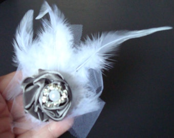 Wedding Feather Fascinator-Hair Clip Or Brooch-Grey Satin Rose-White Feathers-Vintage Tulle-Pearl-Diamond.