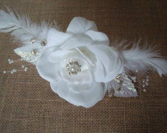 White Velvet Rose And Feather Clip And Brooch-Fascinator-Diamonds-Pearls-Wedding-Prom-Parties-Feathers.