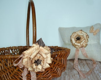 Wedding Flower Girl Basket And Ring Pillow Set-Peaches And Cream-Rustic-Fall-Country-Barn-Outdoor-Woodland Wedding