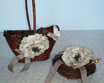 Flower Girl Basket and Ring Bearer Bird Nest Set-Sheet Music Paper Roses-Butterfly-Seam Binding.