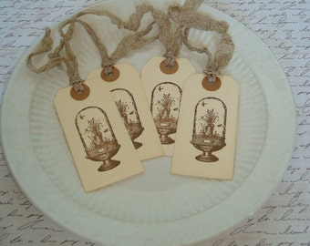 Gift Tags-Vintage-Botanical-Botanicals Under Cloche Image-Sepia-Taupe Seam Binding-Set of 4.