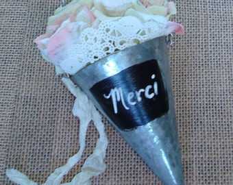 Metal Cone-Chalkboard Painted Front-Merci-French Script Stamped Roses-Seam Binding-Spring-Shabby-Cottage-Romantic-Prairie.