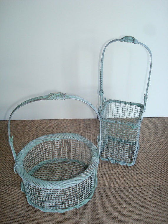 Wedding Basket Set-So Shabby- Set Of Two Metal And Wood Baskets-Fabulous Light  Green Color-Perfect For The Shabby Look.