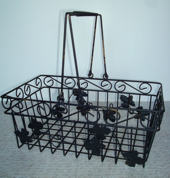 RESERVED FOR CONNIE-Large Black Metal Ivy Design Basket-Hinged Handles-Shabby -Distressed-Wire -Cottage-French Style.