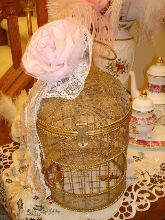 Metal Birdcage-Gilded Metal-Holiday Sparkle-Shabby Tattered Pink Rose-Tulle-Seam Binding-White Lace-Pearls.
