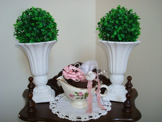 White Urns-Vases-Greenery Balls-Pair of Urns and Greenery Balls-Spring Decor-Shabby-French-Cottage-Beach-Romantic-Prairie.