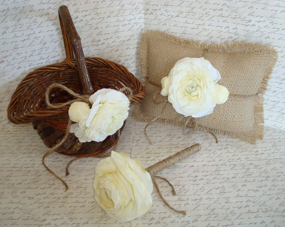 Rustic Flower Girl Basket Set-Ring Bearer Pillow-Guest Book Pen-FREE Hair Clip-Shabby-Vintage-French-Barn-Beach-Woodland-Fairy-Country.