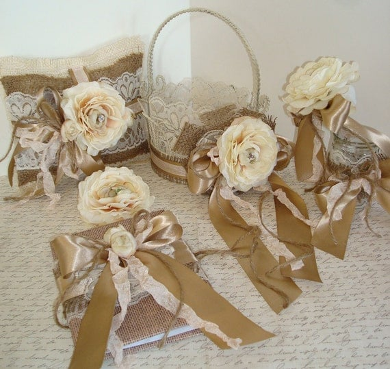 Flower Girl Basket And Ring Bearer Set-6 Piece-Blush-Cream-Latte-Champagne-Guest Book-Pen Holder-Hair Clip-Shabby Chic-French-Rustic-Beach.