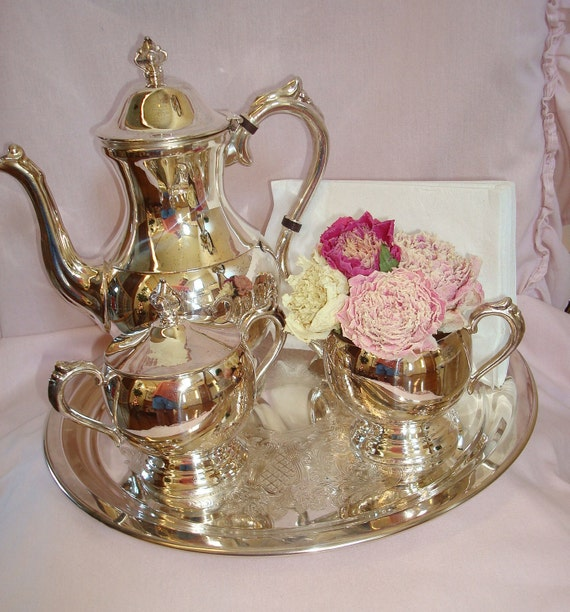 Vintage Silver 6 Piece Tea Set-Fifth Avenue Silver Plate On Copper-Shabby-French-Romantic-Cottage-Silver Service.