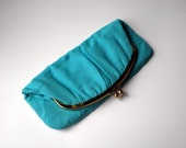 Vintage 50s Purse. Clutch . Fold Over. Gold Tone Clasp. Teal Turquoise Blue Chiffon. Mel Ton