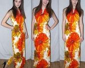 Vintage 60s 70s Floral Maxi Dress. Barkcloth Style. Alice Polynesian. Mod Graphic. Resort. Ethnic Hawaiian. S M