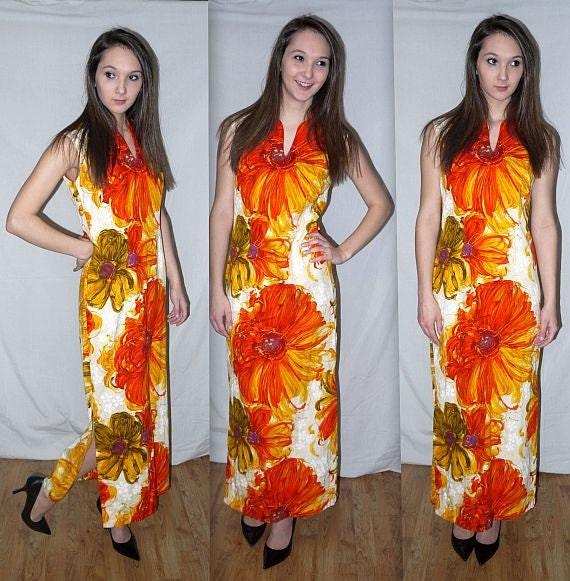 Vintage 60s 70s Floral Maxi Dress. Barkcloth Style. Alice Polynesian. Mod Graphic. Resort. Ethnic Hawaiian. S M