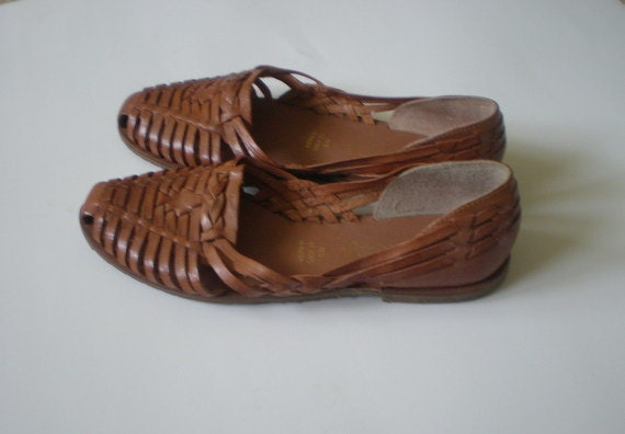 Vintage Leather Huaraches Shoes Leather Sandals Woven