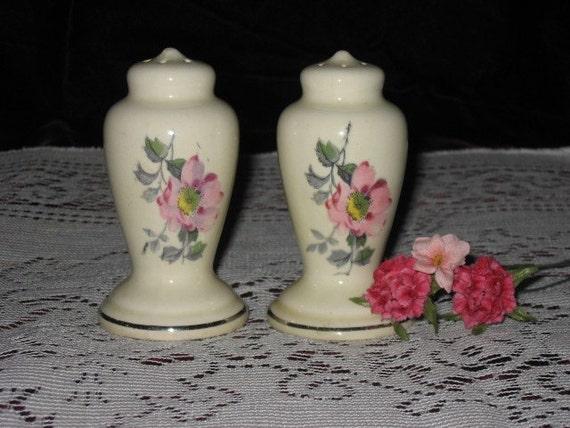 Vintage Salt & Pepper Set with Pink Flowers Cottage or Shabby Chic