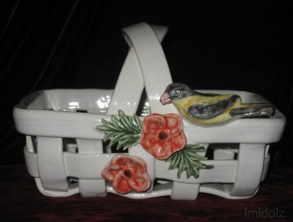 Ceramic Basket with Flowers and Bird