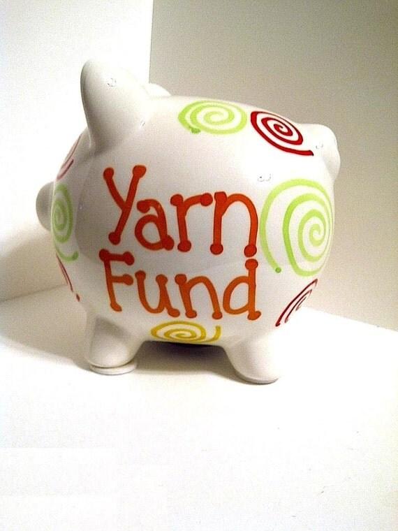 ON SALE 50% OFF - Yarn Fund Medium Ceramic Piggy Bank