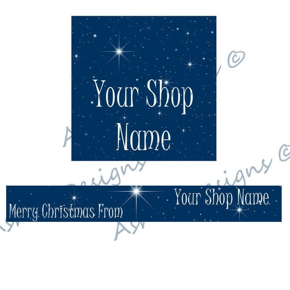 CLEARANCE REDUCED Simple Premade Blue Starry Night Christmas Banner and Avatar Shop Set - OOAK