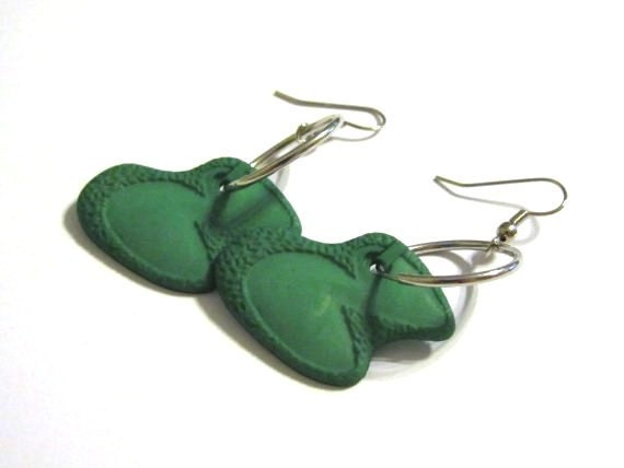 CLEARANCE SALE Golf Green Earrings with Hoops - Last Pair