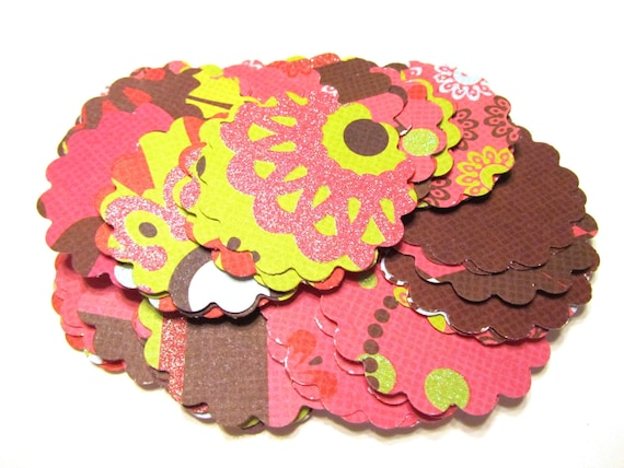 DOLLAR SALE Flower Mix Scalloped Circle Scallops Textured Die Cut Tags 2 inch - Set of 50