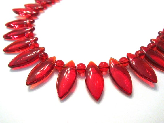 50% OFF SALE Bright Red Flower Petal Glass Necklace, Valentines Day