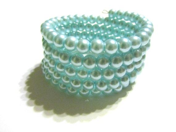 SALE 50% OFF SALE Light Blue Glass Pearl Wrap Cuff Bracelet