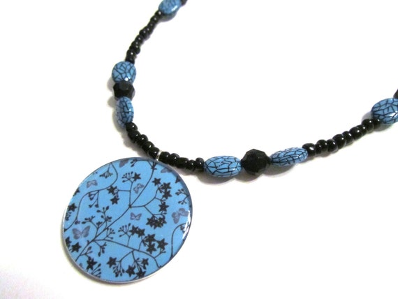 50% OFF SALE Blue Turquoise and Black Beaded Flower Necklace