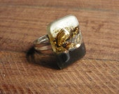 White black and golden fused glass ring - Adjustable size