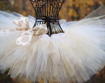 Tutus: Wedding flower girl tutus/ Ivory and gold tutu/Custom tutus/ ivory tutu/ newborn-12mths,1,2,3,4,5,& up