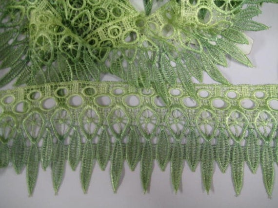 Venice Lace hand dyed wide pale green, olive green for home decor,clothes, lampshades, quilts