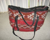 Charlize Kyle Couture duffel bag luggage vintage carpet/ leather sz large custom made