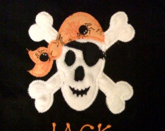 Boys Halloween Shirt - Infant or Toddler - Personalized - Boutique - Skull Shirt