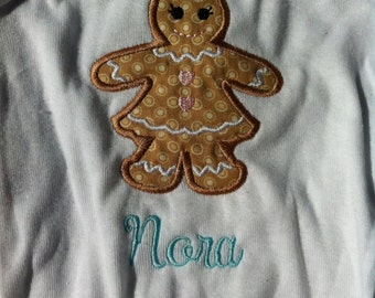 Girl Christmas Shirt - Gingerbread Girl - Infant or Toddler  - Personalized - Monogrammed