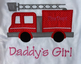Fire Truck Shirt - Fire Engine - Infant or Toddler - Personalized - Monogrammed - Daddy's Girl