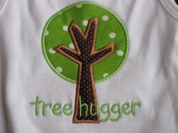 Little Tree Hugger - Applique T-Shirt  - Infant or Toddler Girl - Personalized - Embroidered