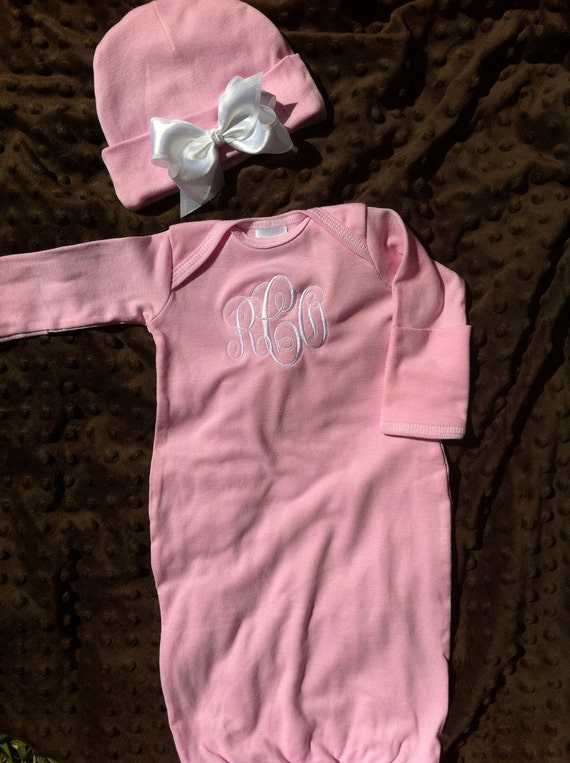 Personalized Infant Gown and Hat - Newborn Gown - Monogrammed Baby Gift - Baby Girl or Baby Boy