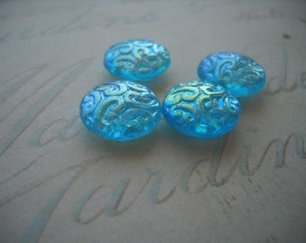Czech Brocade Design Beads Aqua AB