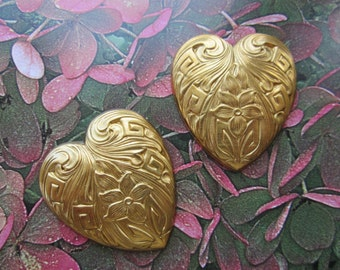 Vintage Nouveau Style Raw Brass Heart Stampings 2Pcs.