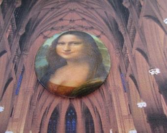 Vintage W. German Glass Mona Lisa Cabochon 35mm