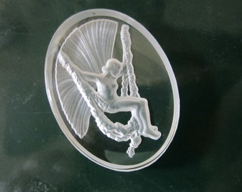 Vintage Glass Fairy Intaglio Clear With Frosted Fairy 40x30mm