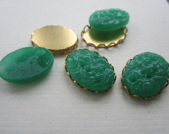 Vintage Jadeite 18x13mm Cabs Floral Cherry Brand Glass With Settings