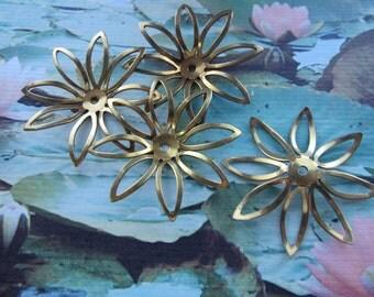 Vintage Brass Coated Steel Flowers 4Pcs.