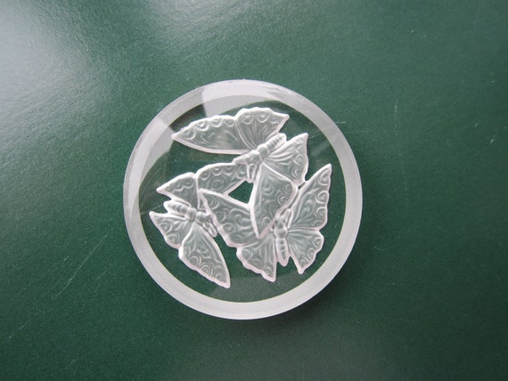 Butterflies Glass Intaglio Cabochon 35mm Clear And Frosted Glass