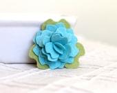 Felt Flower Clip, Peony, Robins Egg Blue, with Sage Green Leaf