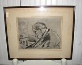 "Paris Chess Club , ""Chess"" by Joseph Margulies , Original Etching  , Listed Artist"