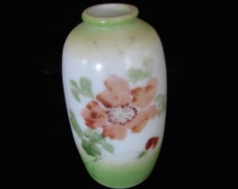 Opaque Glass Vase , Hand Painted , Early 1900's , Spring , Nasturtiums, Bristol Glass