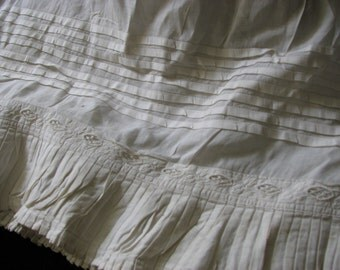 Victorian 1850's Infant Christening Under Slip Tucks, Pleats and Lace Insert