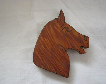Horse Brooch Mid Century Pyrography Camp Craft American Western