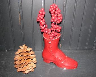 Metal  Red Boot Vase