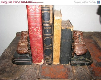 Bronzed and Copper Baby Shoe Bookends Art Deco Lace Ups